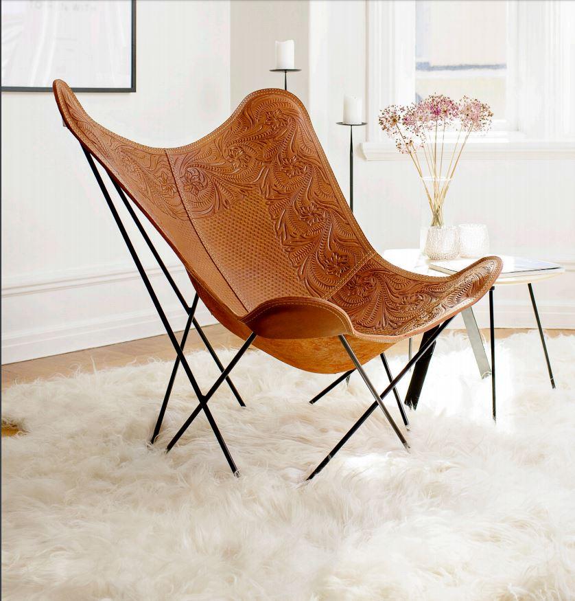 Silla mariposa Pampa de Cuero Design en Maxim Confort Mallorca
